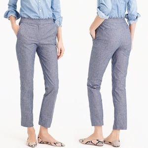 J. Crew Pants - J.Crew Cropped Chambray Blue Ruffle Pants 10